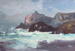 GARETH THOMAS oil on canvas - coastline, unsigned, unframed, 25 x 36cms