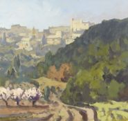 GARETH THOMAS oil on board - French countryside with path leading to village on hill, signed,