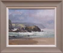 GARETH THOMAS oil on canvas - figures on a beach Cardiganshire, entitled verso by artist hand '