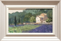 GARETH THOMAS oil on board - French landscape with villa, entitled verso 'Lavender and House near