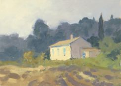 GARETH THOMAS oil on board - French house in countryside, signed, unframed, 18.5 x 25.5cms