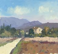 GARETH THOMAS oil on board - French villa in the countryside, signed, unframed, 31.5 x 34cms