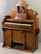 CIRCA 1900 OAK CHAPEL TYPE ORGAN by R F Stevens, London, having a shaped crested top with central