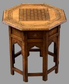EASTERN COPPER & BRASS INLAID OCTAGONAL TABLE, 47cms H, 46 x 46cms top