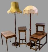 VINTAGE & LATER FURNITURE PARCEL, six items including two reproduction standard lamps with shades,
