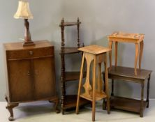 VINTAGE & LATER FURNITURE PARCEL, six items including a mahogany bow fronted side cabinet with