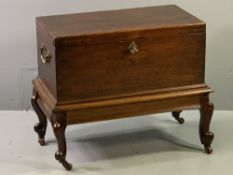 CIRCA 1840 & LATER OAK COFFER BACH with brass carry handles, on later carved corner feet and brown
