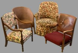 VINTAGE ARMCHAIR GROUP (4) to include a Lloyd loom example, floral upholstered tub chair, oak low