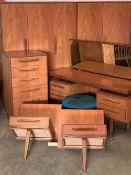 G-PLAN SEVEN PIECE TEAK BEDROOM SUITE, comprising triple door wardrobe, 175cms H, 122cms W, 59cms D,