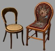 VICTORIAN & LATER CHILD'S CHAIRS (2) to include a mahogany hall chair with beadwork seat and back,