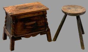 VINTAGE OAK COFFER BACH, 42cms H, 51cms W, 33cms D and a circular topped three legged stool, 41cms