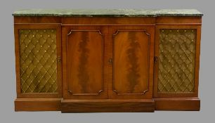 REPRODUCTION MAHOGANY BREAKFRONT SIDEBOARD with green marble top, twin central panelled doors with