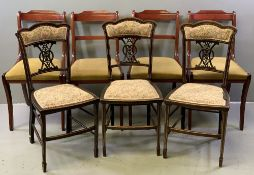 SALON & DINING CHAIR GROUP (3 plus 4), ebonized with bone stringing and carved central splat,