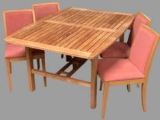 TEAK EXTENDING OUTDOOR/CONSERVATORY TABLE, 75cms H, 150cms W, 110cms D (closed), 210cms fully