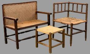 CHILD'S BERGERE CANE SEATED SETTEE, 64cms H, 70cms W, 41cms D rush seat bobbin corner chair, 64cms