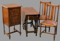 VINTAGE OAK BARLEY TWIST FURNITURE, four items to include a twin flap gate leg table, 73cms H, 42cms