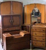 VINTAGE OAK THREE PIECE BEDROOM SUITE comprising two door wardrobe, 170cms H approximately, 116cms W