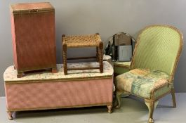 VINTAGE LOOM STYLE & OTHER HOUSEHOLD FURNITURE, five pieces to include a pink ottoman, similar linen