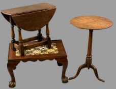 ANTIQUE & LATER SIDE TABLES (3) including a circular topped elm tripod table, 65cms H, 45cms