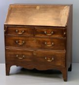 CIRCA 1840 OAK FALL FRONT BUREAU with interior drawers and pigeonholes, over two short and two