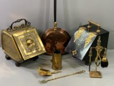 ANTIQUE FIRESIDE GOODS, a mixed quantity including an early 19th Century brass and wrought iron