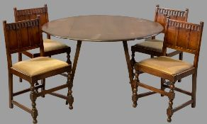 ERCOL TWIN FLAP DINING TABLE, 72cms H, 125cms W, 113cms D (open), 62cms D (closed) & four chairs