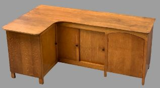 BESPOKE VINTAGE OAK CORNER BASE CUPBOARD with twin sliding and twin opening doors under a shaped