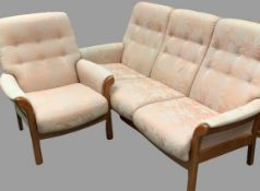 CONTEMPORARY STYLE TEAK CINTIQUE TWO PIECE LOUNGE SUITE of button back upholstered, ladderback three