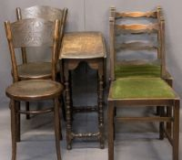 VINTAGE OAK GATELEG TABLE & FOUR CHAIRS (2+2) - the gateleg with carved detail to the top rim on