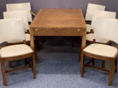 HEALE'S LONDON ART DECO WALNUT DINING SUITE - consisting extending dining table and six (5 + 1)