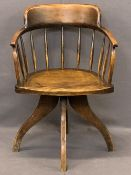 VINTAGE ASH SWIVEL OFFICE CHAIR - with curved stick back on four splayed supports, 83cms H, 58cms W,