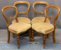 VICTORIAN MAHOGANY BALLOON BACK PARLOUR CHAIRS (4) - with carved detail to the central rail, stuff