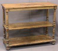 VICTORIAN MAHOGANY THREE-TIER DUMB WAITER on turned and block supports with bun feet and castors,