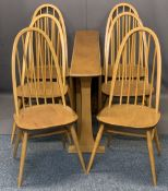 ERCOL LIGHT ELM DROP-LEAF DINING TABLE and six high hoop stick back chairs, labels attached to some,