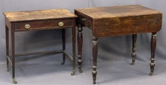 VICTORIAN MAHOGANY PEMBROKE TABLE - twin flap with single end drawer having a turned wooden knob