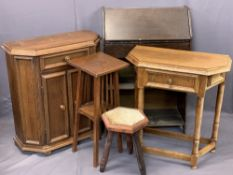 VINTAGE & REPRODUCTION FURNITURE PARCEL, 5 ITEMS - a vintage fall-front bureau with open lower
