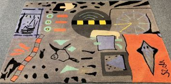 MODERN ABSTRACT SIGNATURE PATTERN RUG - multi-coloured with cloth backing, 237 x 168cms