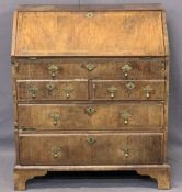 MID-18TH CENTURY & LATER CROSSBANDED WALNUT FALL FRONT BUREAU - with interior slide well and a
