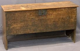 CIRCA 1800 OAK 6 PLANK SWORD CHEST - with iron lock and hinges to the lid over a peg joined base,