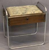 1930s ART DECO MAHOGANY & CHROMED TUBULAR STEEL PIANO STOOL - interior label for Albert Hind Ltd