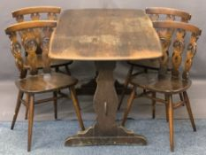 ERCOL DINING TABLE & FOUR CHAIRS, the chairs with triple splatback and Fleur de Lys decoration,