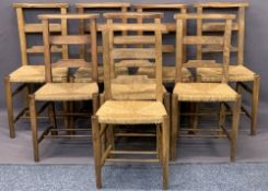 VINTAGE RUSH SEATED CHAPEL OR CHURCH CHAIRS (8) - 82.5cms H, 41cms W, 36cms D