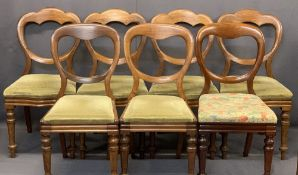 VICTORIAN MAHOGANY BALLOON BACK SALON CHAIRS (7 - 4+2+1) - the set of four having shaped crest
