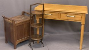 MODERN & VINTAGE FURNITURE PARCEL, 3 ITEMS - modern pine two drawer side table, 78cms H, 101cms W,