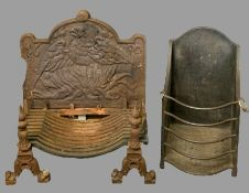 CAST IRON & STEEL FIREPLACE ITEMS to include a heavy cast fire back with pattern detail on a