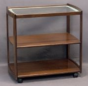 DANISH MAHOGANY THREE TIER TEA TROLLEY - with inset glass top, 79cms H, 82cms W, 51cms D