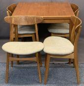 MID CENTURY TEAK DRAW LEAF DINING TABLE & 4 KARL HANSEN & SON DANISH CHAIRS - designed by Hans J