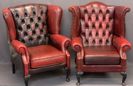 RED LEATHER EFFECT BUTTON UPHOLSTERED WING BACK FIRESIDE ARMCHAIRS (2) - 105cms H, 83cms W, 50cms