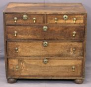 ANTIQUE CROSSBANDED FRUIT WOOD CHEST - of two short over three long drawers with circular brass