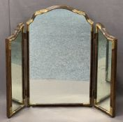 VINTAGE WALNUT & GILT HIGHLIGHTED TRIPLE DRESSING MIRROR - 75.5cms H, 100cms approx overall W